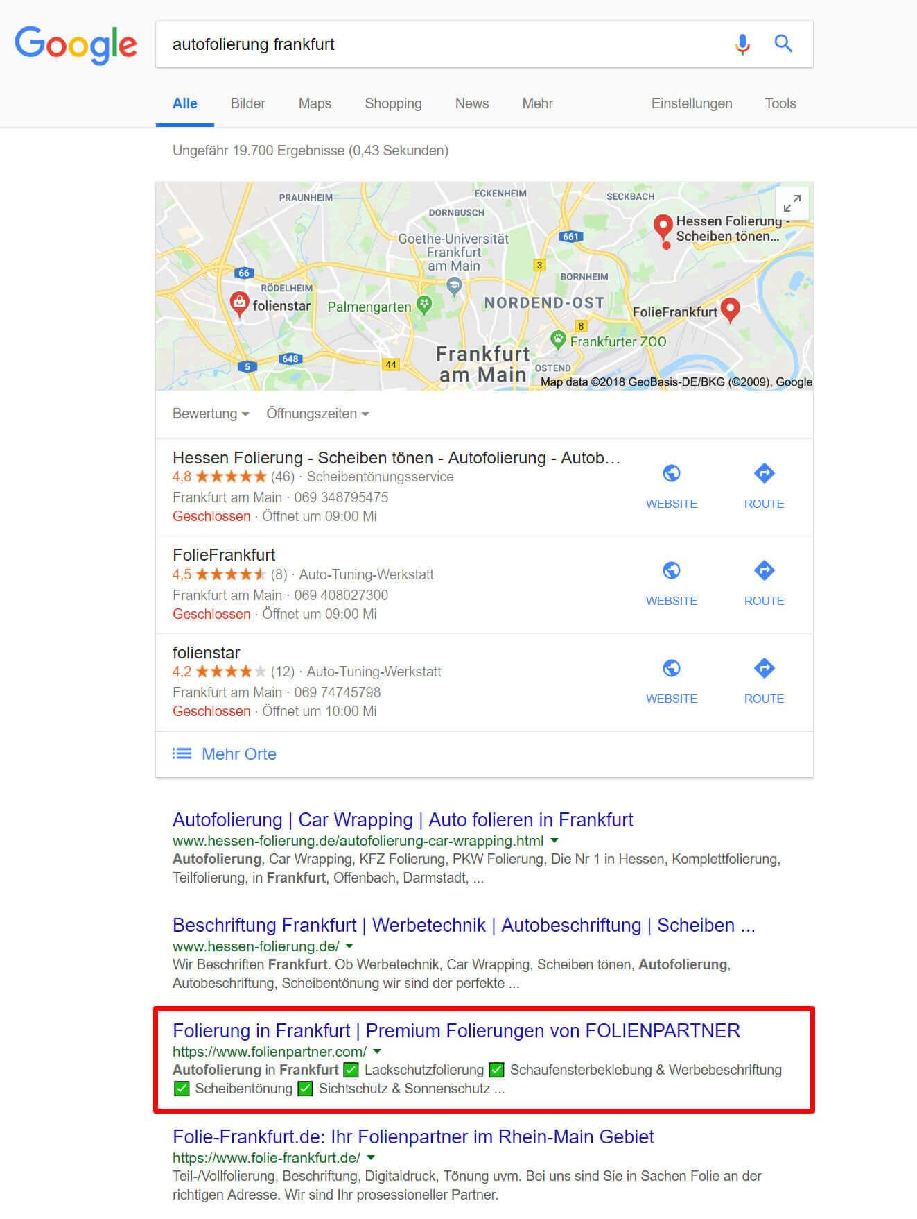 """3. Platz für """"Autofolierung Frankfurt"""""""