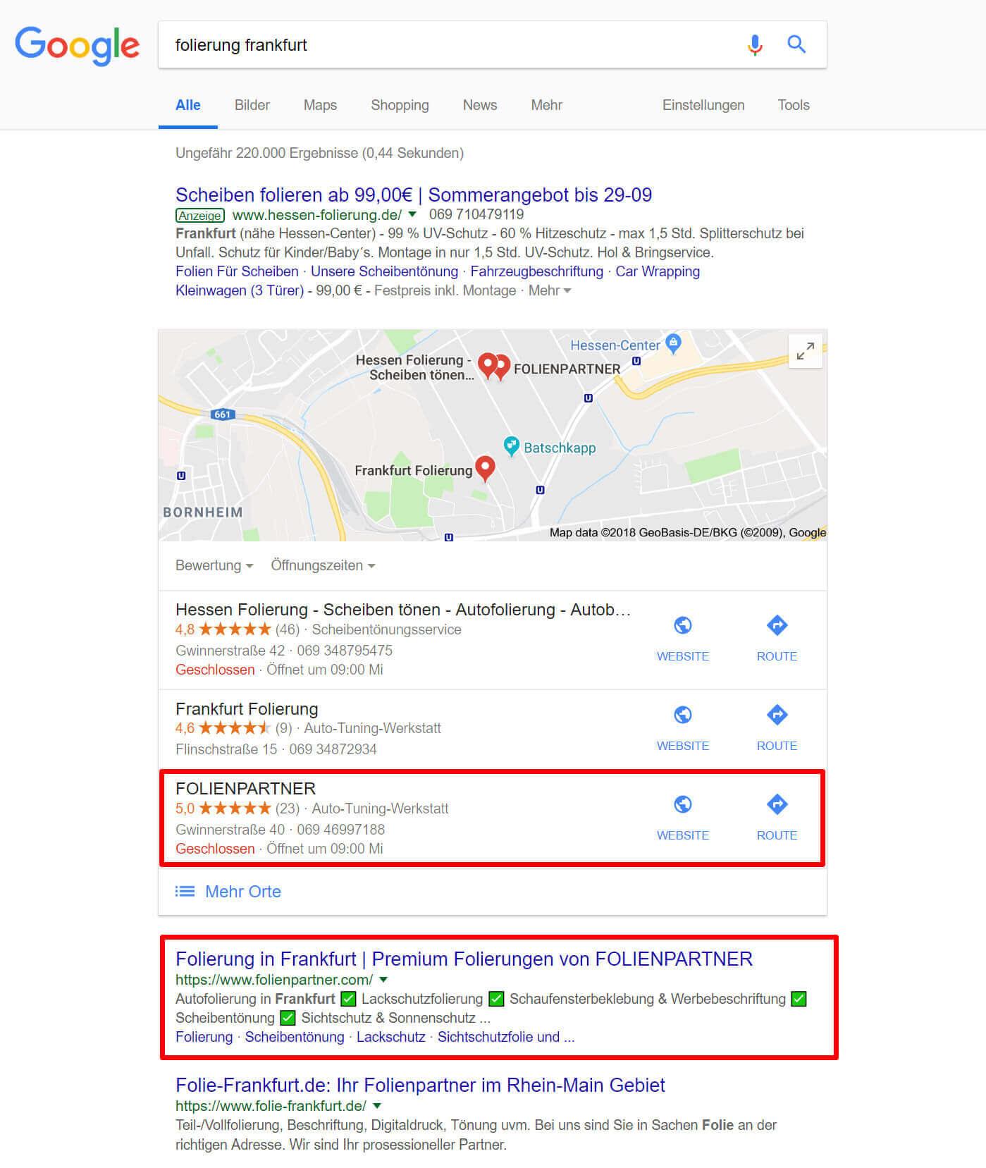 """1. Platz für """"Folierung Frankfurt"""""""